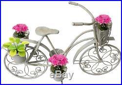 Casa Cortes Antique White Bicycle Garden Patio Planter