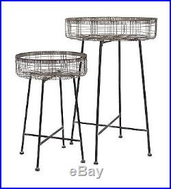 Classic Set of 2 Pitzer Round Wire Plant Stands