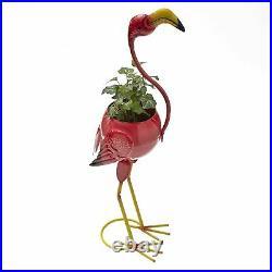 Colorful Metal Flamingo Bird Flower Planter Garden Decor Sculpture Lawn Statue