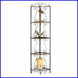 Copper Brown Metal Corner Etagere 4 Shelf Tier Plant Stand Storage Decor Display
