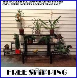 Corner Plant Stand 3 Tier Shelves Indoor Outdoor Garden Rack Iron Metal Folding