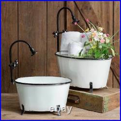 Country Vintage Rustic Set of 2 Clawfoot Tub Planters in Metal Enamelware