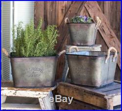 Country Vintage Rustic Set of 3 Flowers & Garden Bins in Metal