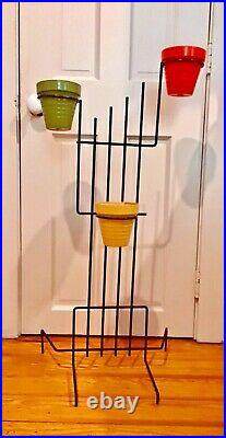 Cute Vintage 1950s MCM Metal garden patio Plant Stand + 3 Small Flower Pots 3 ft