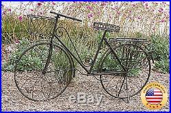 Deco 79 Metal Bicycle Garden Planter, Rustic Brown