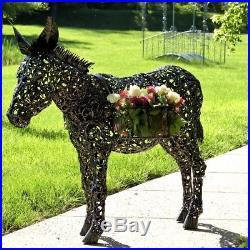 Donkey Flower Plant Stand Freestanding Iron Outdoor Garden Patio Decor Accent