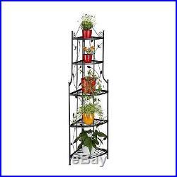 Elegant Shabby Chic Corner Plant Stand, Metal, 5 Shelves, Foldable