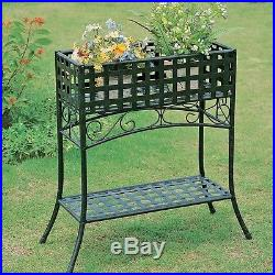 Elevated Rectangular Metal Planter Stand Black Wrought Iron