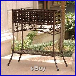 Elevated Wrought Iron Metal Plant Planter Stand in Bronze Outdoor