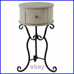 End Side Table Round Bedside Drawer Small Antique Style Accent Plant Stand Base