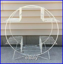 FAB Vintage Mid Century Modern Wire White Metal 4 Tier Plant Stand Shelf Atomic
