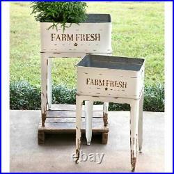 Farm Fresh White Garden Stands Farmhouse Rustic Flower Tubs Plant Bins Country