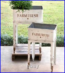 Farmhouse FARM FRESH WHITE GARDEN STANDS Country Rustic Flower Tubs Plant Bins