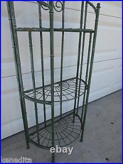 Faux bamboo Plant Stand Foldable Metal Shelf Patio Regency Garden Yard Regency