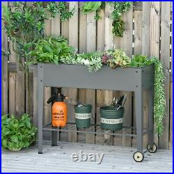 Flower Cart Elevated Garden Bed Trolley Metal Plant Care Stand Tool Shelf Grey