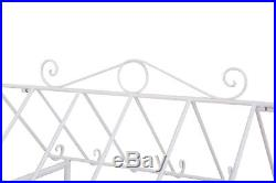 Flower Cart Iron Stand Garden Decor With Wheels For Flower Pots Durable White