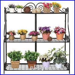Flower Pot Stand Indoor Outdoor Garden Decor Plant Display Shelf Planter Rack