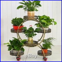 Flower Stand with Wheels And Metal Plant Holder