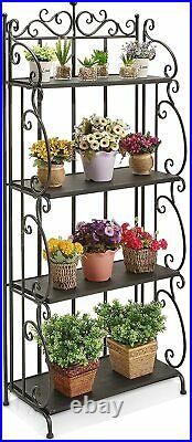 Folding Black Metal & Wood 4-Tier Bookshelf Organizer Shelve, Indoor Plant Stand