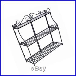 Forged 3-tier plant stand, black