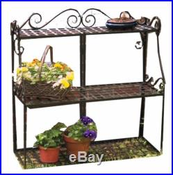 Forged Metal 3-Tier Plant Flower Herbs Display Stand Bookcase Indoor Patio Yard