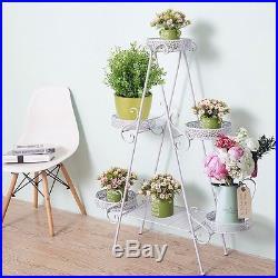 Freestanding Vintage Planter Stand 3 Tier Metal Rack Flower Display Shelf Garden