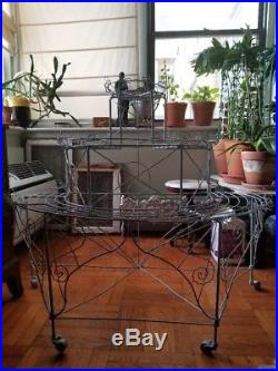 French Victorian Late 19th Century Twisted Wire Plant Stand Restored