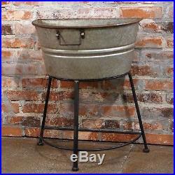 Galvanized Metal Half Wash Tub on Stand Outdoor Decor Vintage Garden Stand