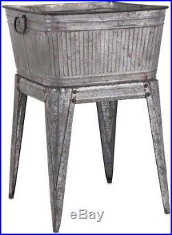 Galvanized Metal Tub/Planter withStand Sturdy Rustic Vintage Industrial Display
