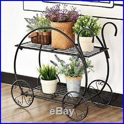Garden Cart Stand Flower Pot Plant Holder 2 Tier Display Rack Heavy Duty Metal