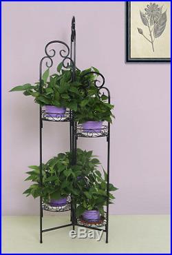 Garden Planter Rack Outdoor Patio Porch Decor Holder Plant Stand Basket Iron Pot