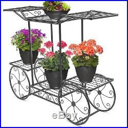 Garden Stand Flower Pot Plant Cart Holder Display Rack 6 Tiers Outdoor Decor