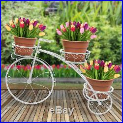 Garden Vintage Planter Tricycle Plant Stand Flower Pot Patio Cart Holder White