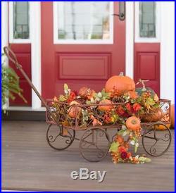 Garden Wagon Decor Rustic Metal Outdoor Flower Pot Holder Planter Decoration