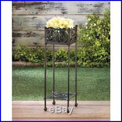 Geometric Filigree 26.5 Plant Stand Cast Iron Indoor Outdoor Flower 2 Piece Set
