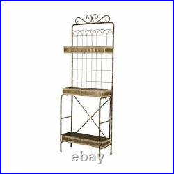Glitzhome 68H Farmhouse Metal Shelf Planter Stand Brown