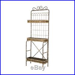 Glitzhome 68'' Farmhouse Rustic Metal Planter Stand Holder Rack 3 Tiers Shelves