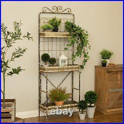 Glitzhome Farmhouse Rustic Metal Stand Planter Flower Holder Rack 3-Tier Shelves