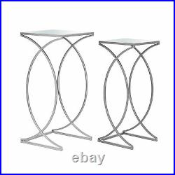 Glitzhome Set of 2 Luxe Metal Frame Glass Top Accent End Side Table Plant Stand