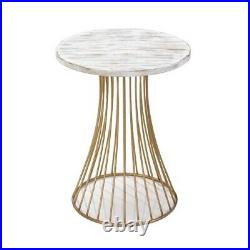 Gold Accented Santa Barbara End Table Plant Stand White Wash Finish 23 tall