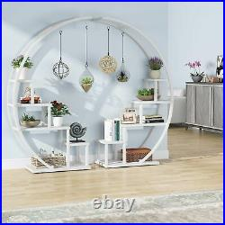 Graden Wood Plant Stand with 10 Shelves & 4 Fixed & 2 Movable Hooks, Ladder Design