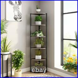 Gray Wooden Black Metal Corner Etagere 5 Shelf Tier Plant Stand Storage Display
