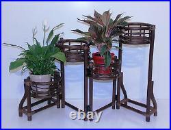 Handmade Rattan Wicker Plant Flower Stand Natural 4 Tier Planter Dark Brown