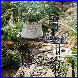 Heavy Duty Cast Iron Potted Plant Stand Rectangle Stand(57.5l56h23.5wcm)