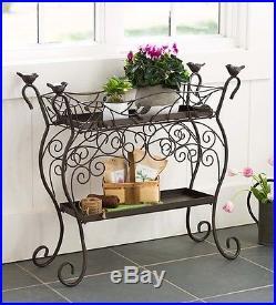 Home Garden Indoor Outdoor Two Shelf Wrought Iron Plant Stand Bar Cart