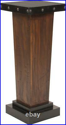 Howard Elliott Pedestal Plant Stand Rustic Tapered Walnut Stain Black Sil