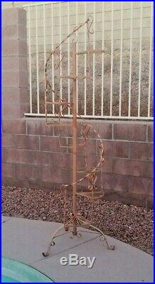 Huge Mid Century Modern Wrought Iron Metal Spiral Staircase Plant Stand 77 H
