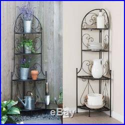 Indoor / Outdoor Corner Bakers Rack Folding Metal Plant Stand with 4-Shelves