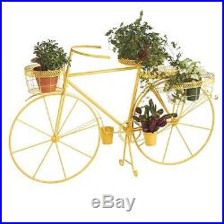 Indoor/Outdoor Novelty Metal Bicycle Plant Stand 4 Wire Baskets Yellow Finish