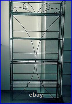 Indoor / Outdoor Wrought Iron Metal Bakers Rack 5 Fold Out Shelf Plant Stand